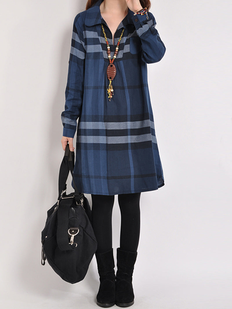 Blue Casual Checkered/plaid A-Line Shirt Collar Dress