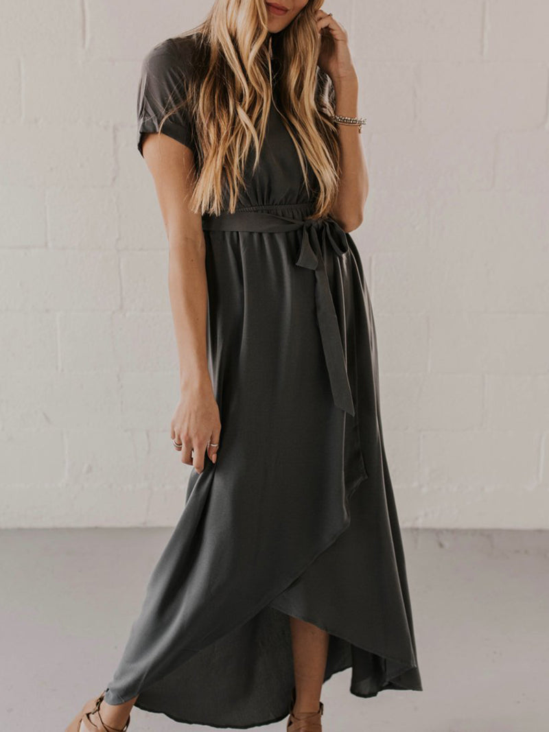 Asymmetrical Casual Solid Short Sleeve Dress