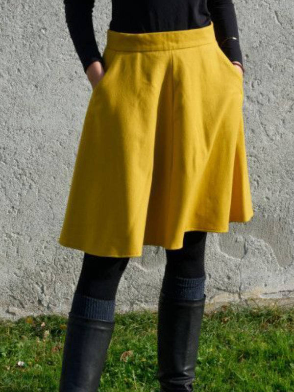 Yellow Wool Blend A-Line Vintage Skirts