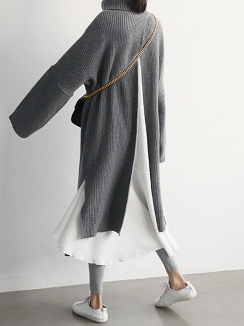 Gray Turtleneck Knitted Asymmetrical Long Sleeve Sweater