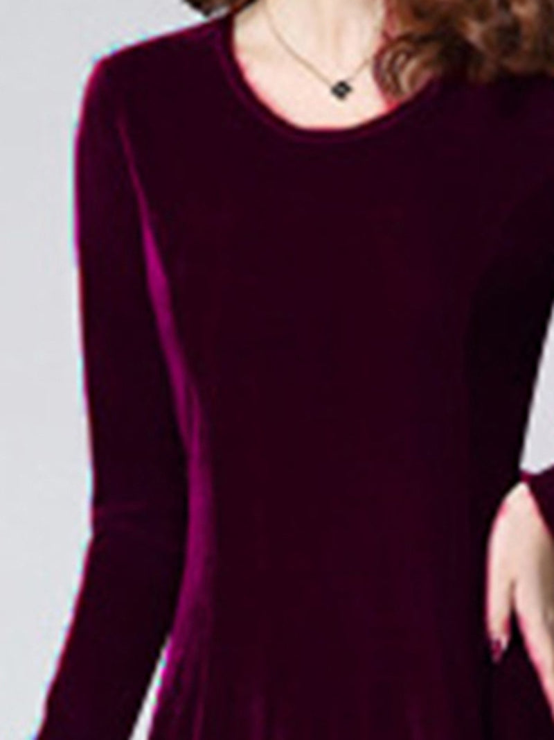 Elegant Velvet Solid Long Sleeve Dress