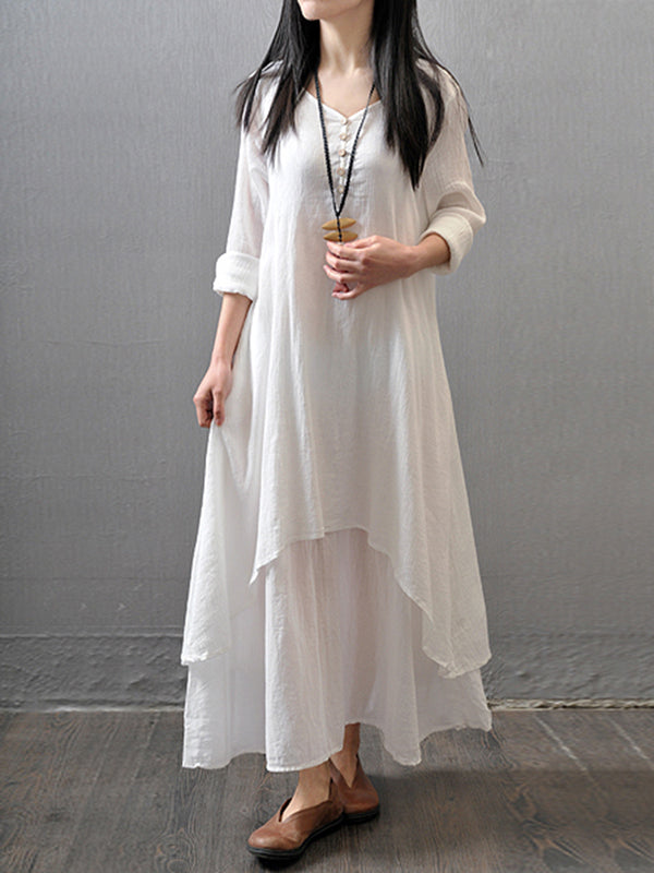 Plus Size Crew Neck Women Dress Asymmetrical Daytime Solid Linen Maxi Dress