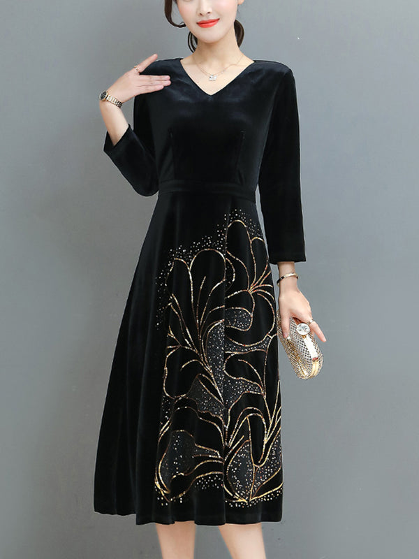 Black Swing V Neck Elegant Cotton Dress