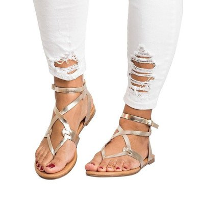 Beige Artificial Leather Buckle Daily Flat Heel Sandal