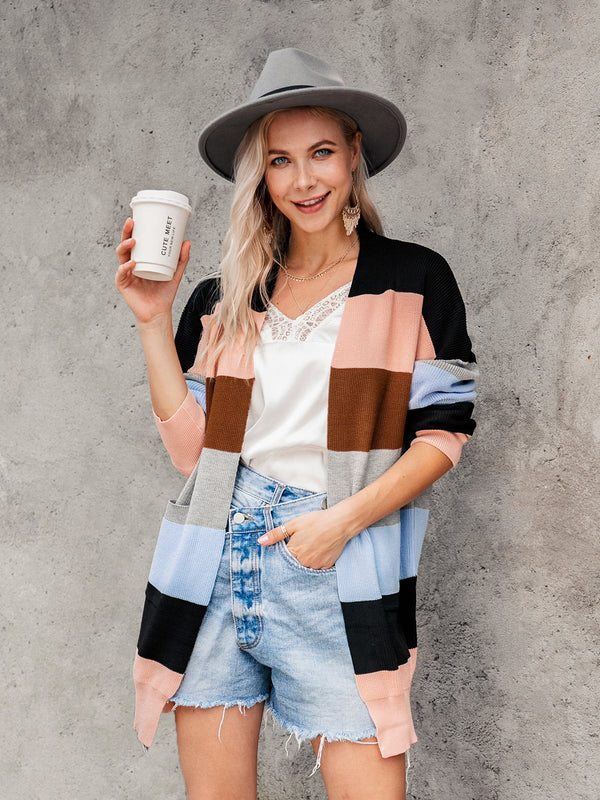 Multicolor Holiday Stripes Shift Color-Block Outerwear