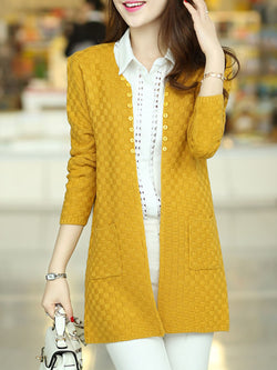 Knitted Casual Buttoned Long Sleeve Cardigan