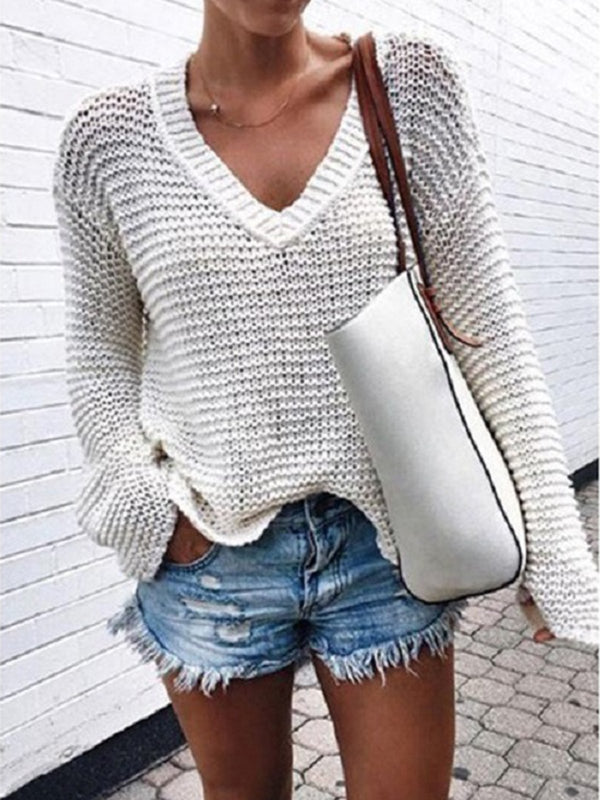Plain Knitted Long Sleeve Sweater
