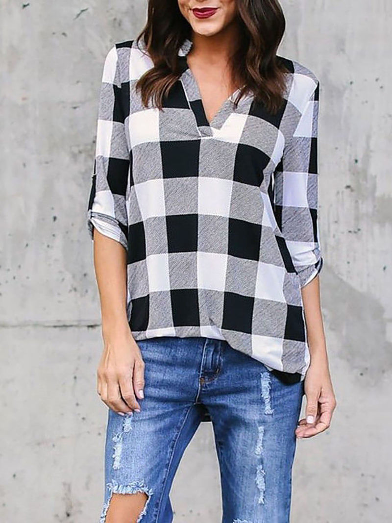Casual Gingham Cotton V Neck Tops