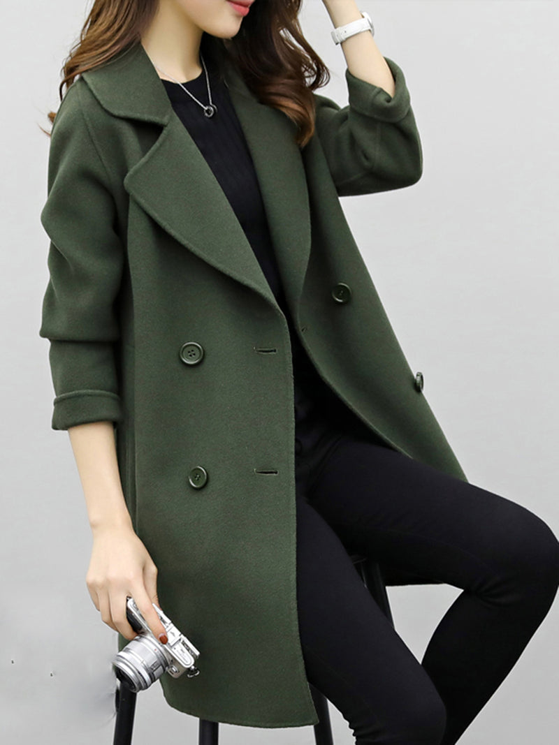 Coffee H-line Long Sleeve Coat