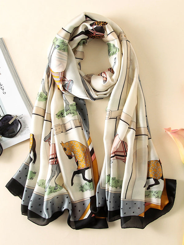 Printed Abstract Casual Satin Scarf