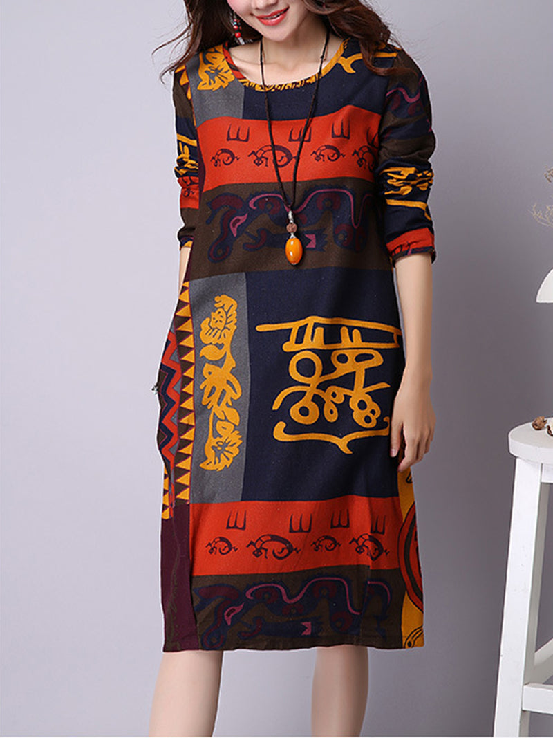 Abstract Printed Pockets A-line Crew Neck Midi Dress