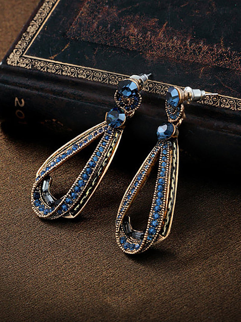 Women's Vintage Luxury Earrings Hollow Sapphire Dangle Gold Drop Sharp Rhinestones Earrings