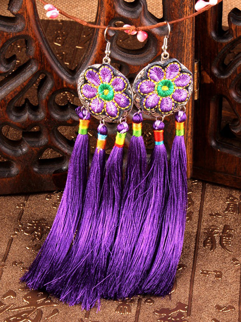 Purple Alloy Round Earring