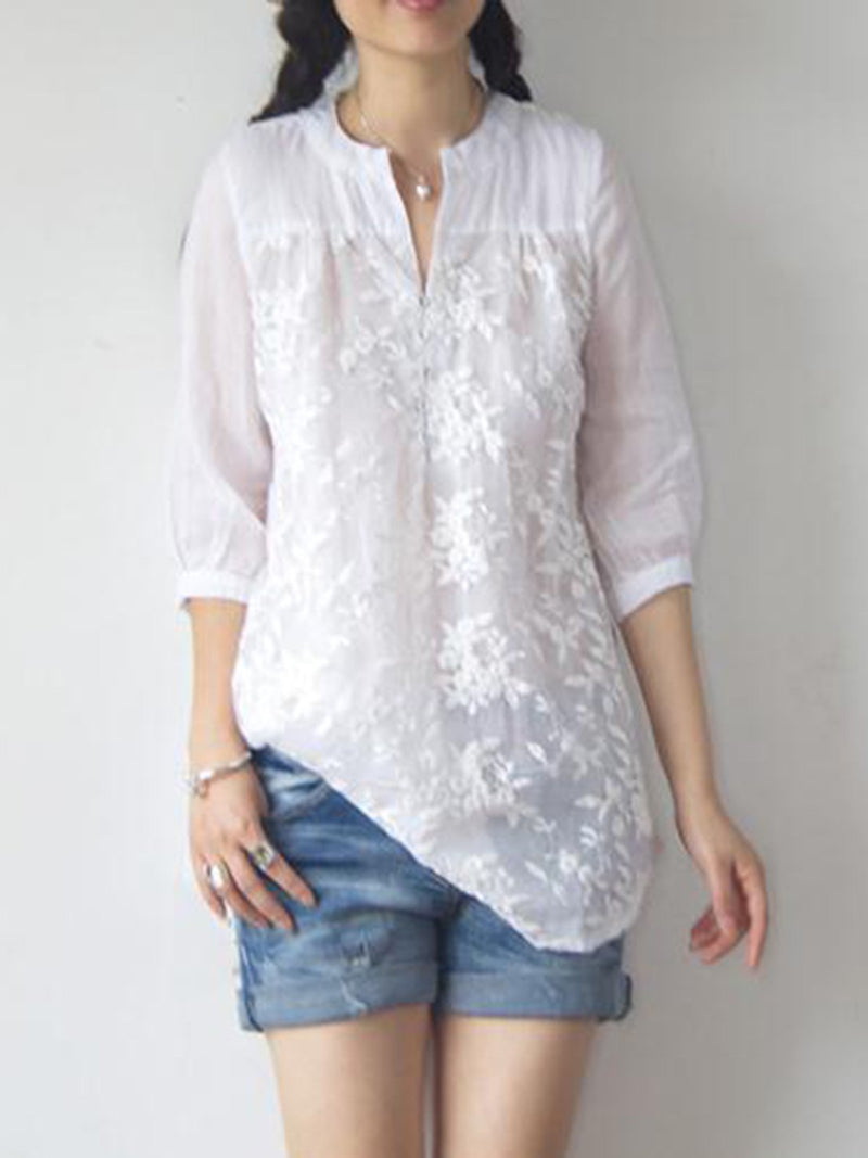 White Long Sleeve Stand Collar Embroidered Floral Tops