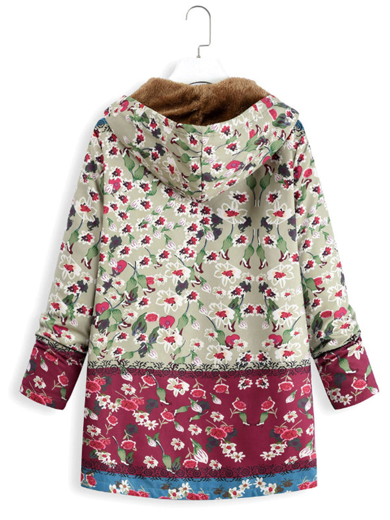 2018 Stylish Floral Women's  Pockets Winter Plus Size Coat With Hoodie
