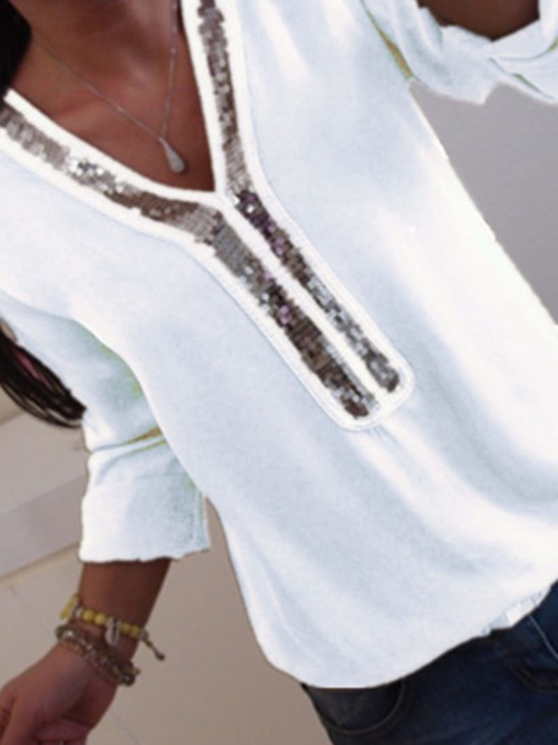 White Casual Paneled Blouses & Shirt