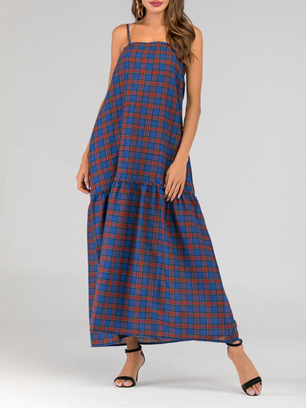 Women Royal Blue Dresses Plaid Shift Daily Vintage Maxi Dresses