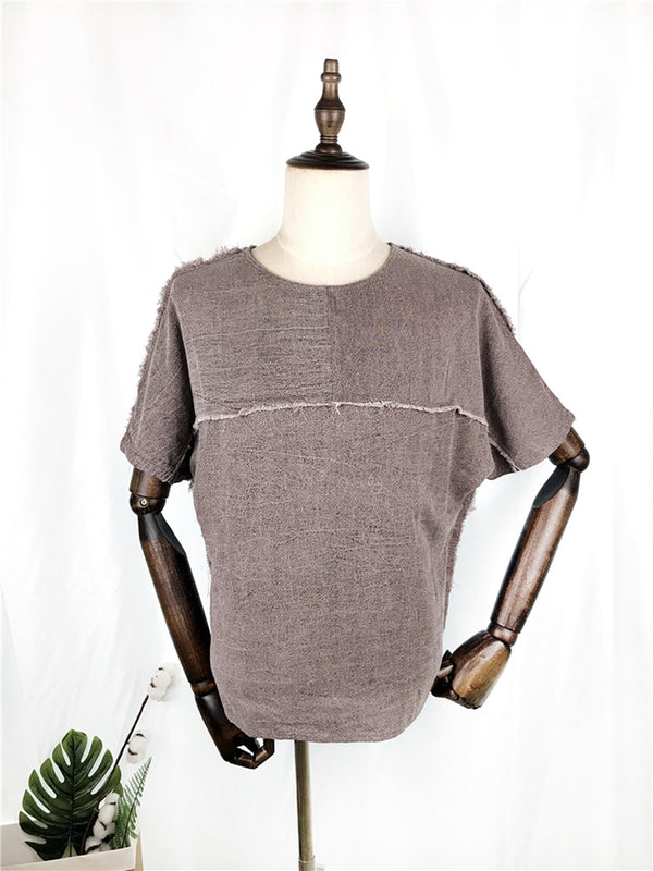 Crew Neck Cotton-Blend Shirts & Tops