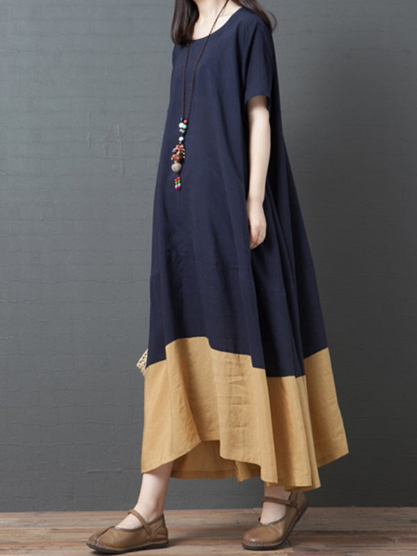 Crew Neck Women Purplish Blue Dresses Cotton Dresses
