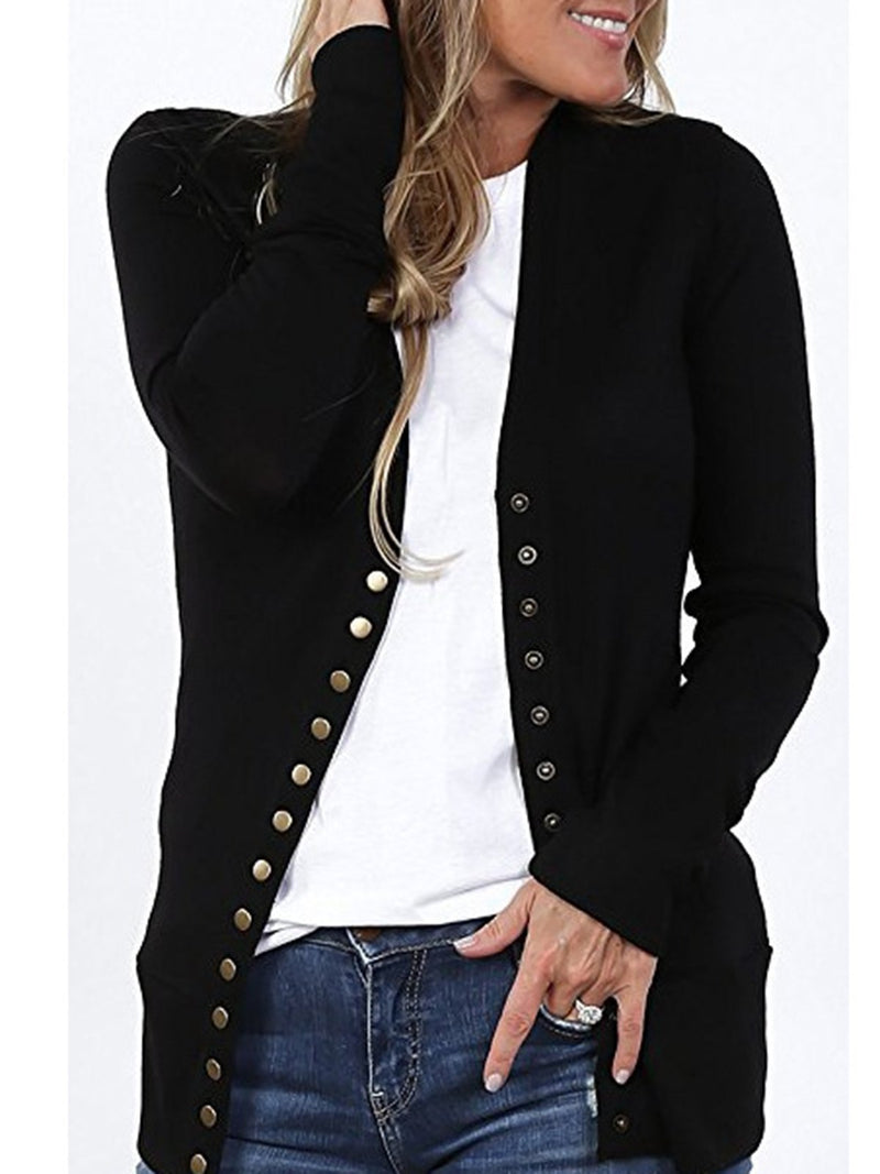 Casual Buttoned Solid Coat