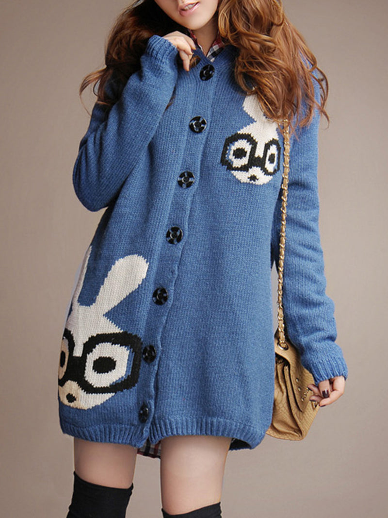 Buttoned Long Sleeve Hoodie Cute Fleece-lined Cardigan