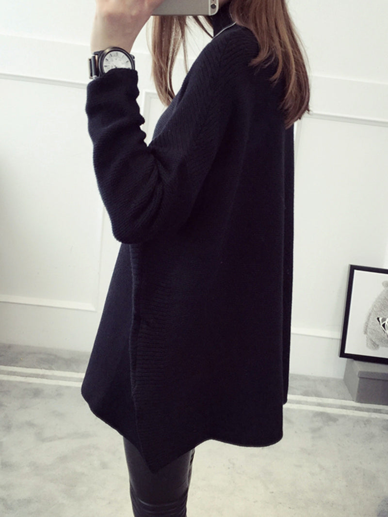Knitted Solid Batwing Stand Collar Sweater