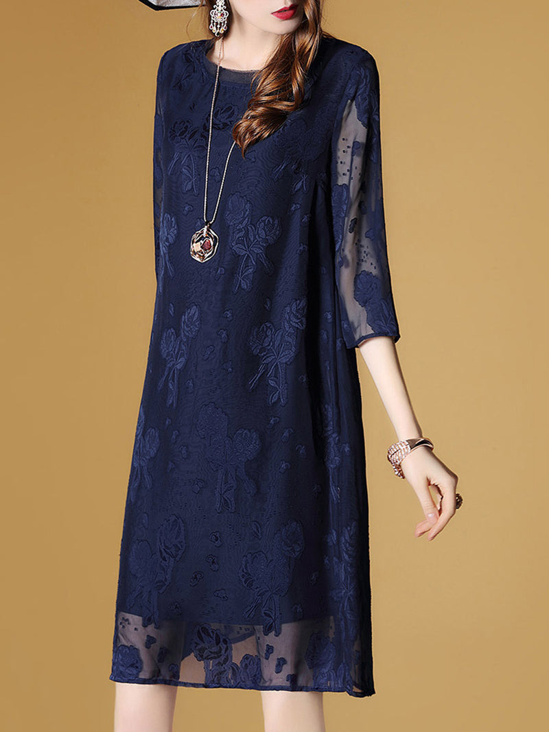 Blue 3/4 Sleeve Shift Dress