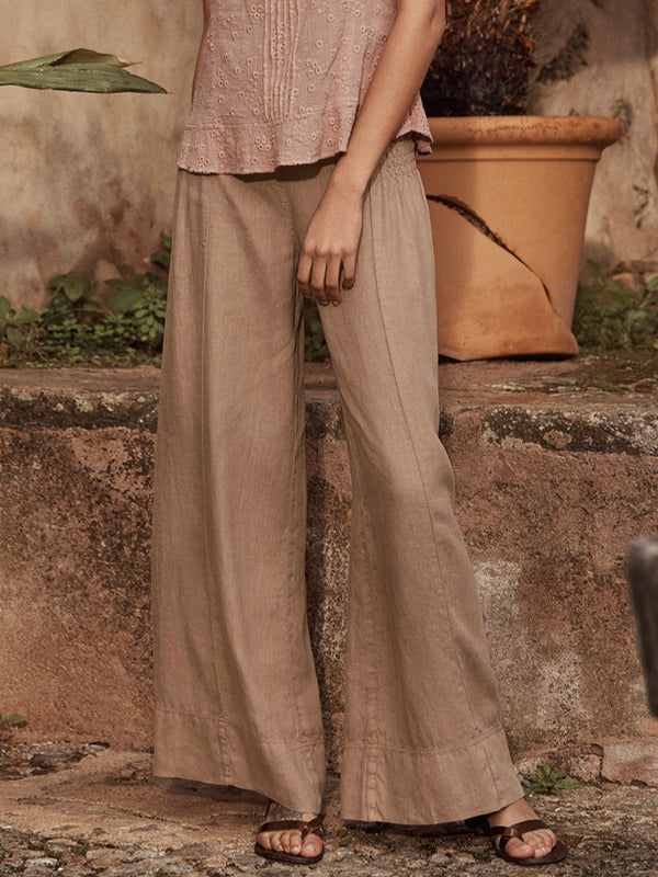 Wide-leg Linen Trousers