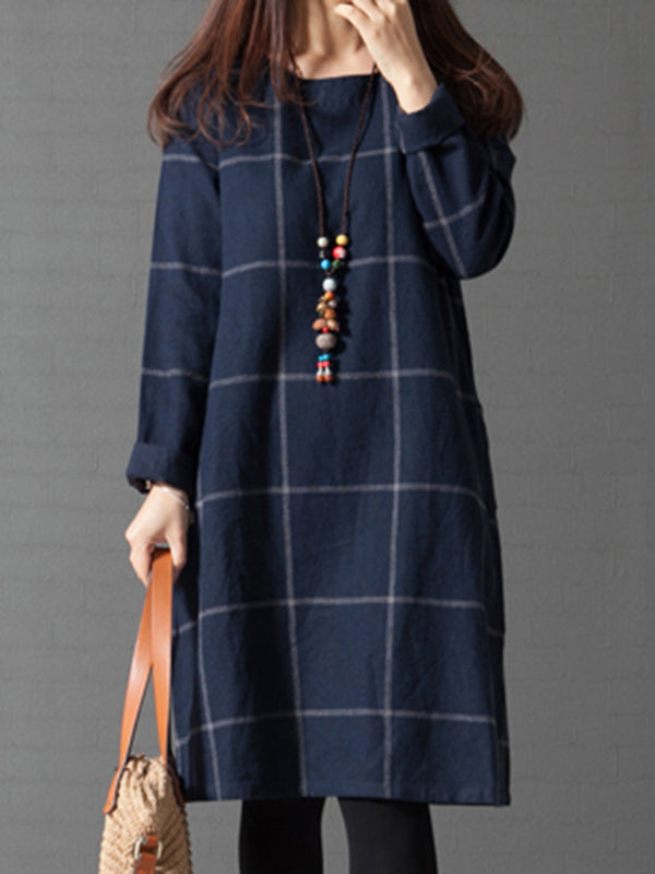 Navy Blue Checkered/Plaid Crew Neck Casual Fall Dress
