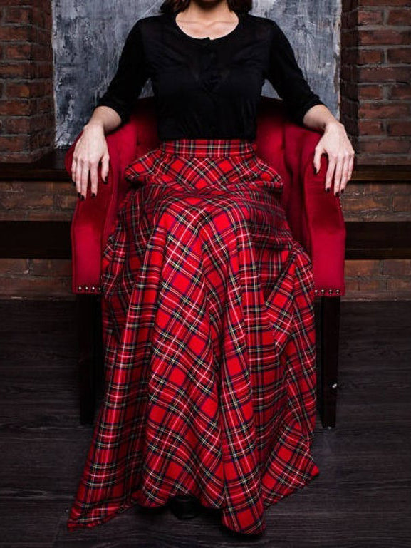 Red Cotton-Blend Checkered/plaid Casual Skirts