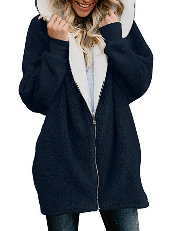 Zipper Cashmere Solid Sweet Long Sleeve Hoodie & Coat