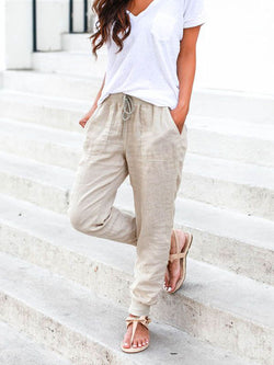 Solid Drawstring Casual Linen Pants Women Trousers