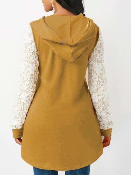 Khaki Solid Paneled Long Sleeve Cotton Lace Hoodies