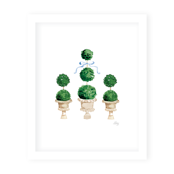 Parisian Picnic Topiaries Art Print