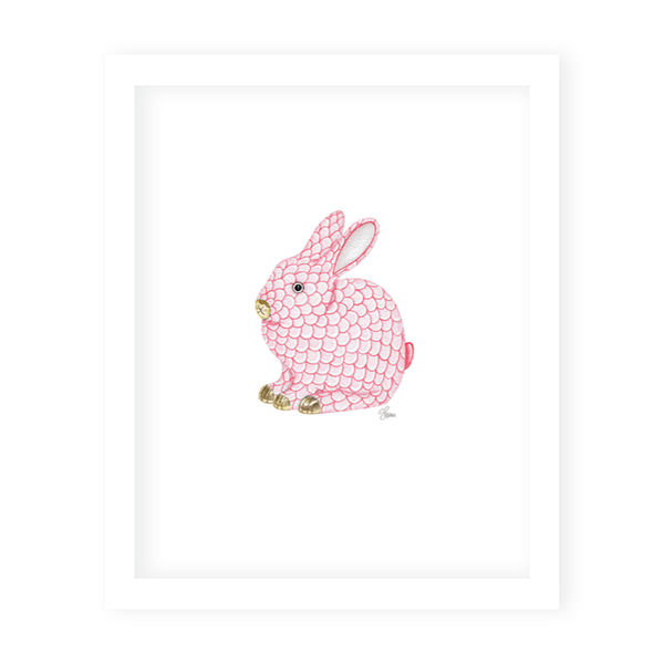Porcelain Bunny Pink Scallop Print
