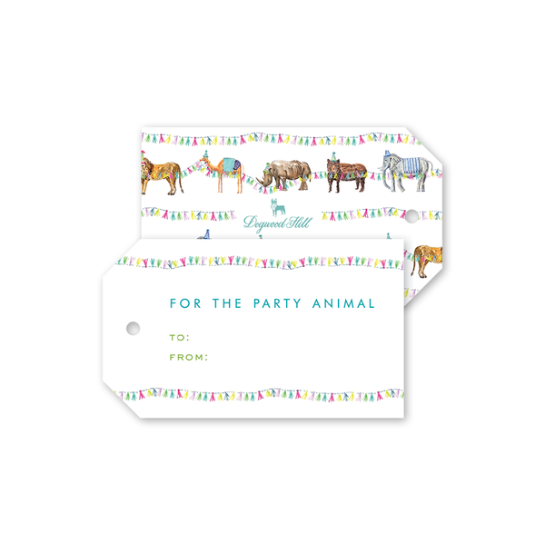 Party Animals Train Gift Tags