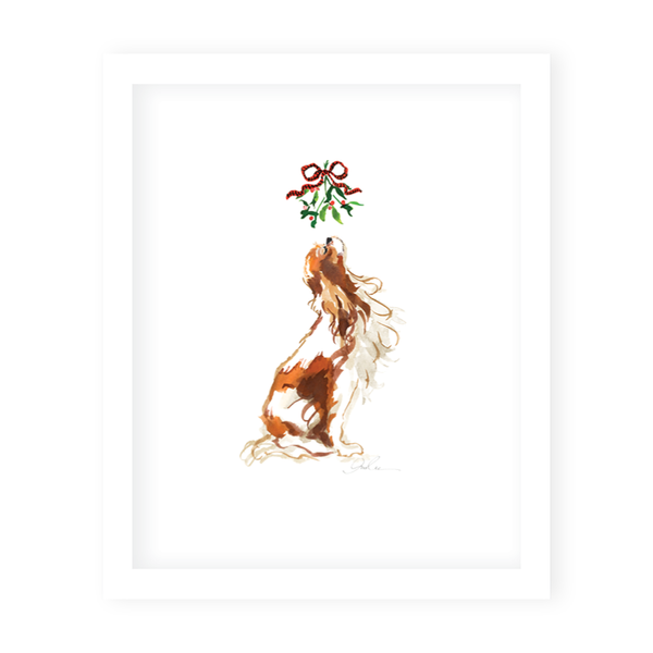 Mistletoe Dog Art Print