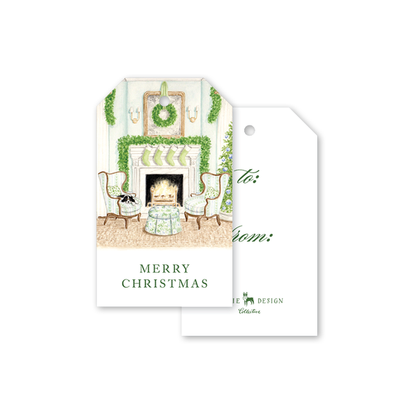 Fireplace Scene Gift Tags