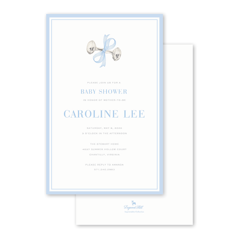 Rattle and Bow Blue Imprintable Invitation