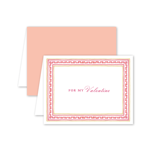Greek Key Pink Valentine