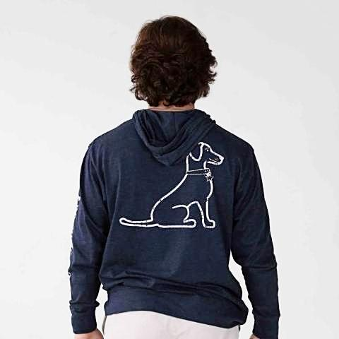 BLUE HEATHER VINTAGE LACY DOG HOODIE TEE
