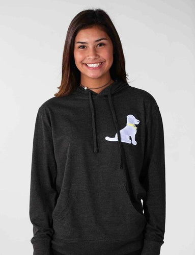 BLUE LACY APPLIQUE HOODIE TEE