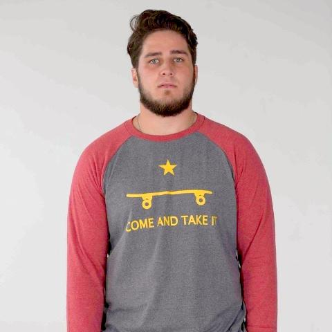 COME AND TAKE IT SKATE RAGLAN SLEEVE TEE