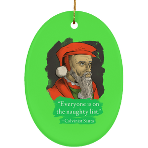 Calvinist Santa Ceramic Oval Ornament