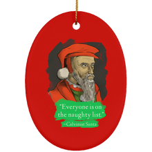 Load image into Gallery viewer, Calvinist Santa Ceramic Oval Ornament