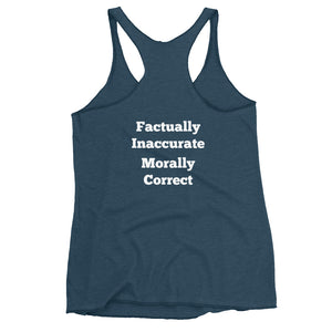 Factually Inaccurate Women's Front and Back Print Racerback Tank