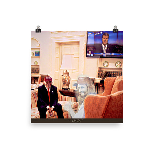 Trump And Jesus In The Oval Office Print