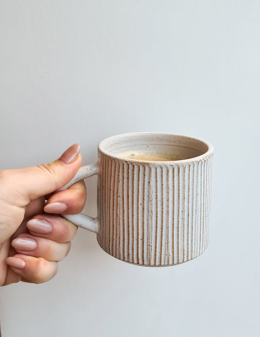 Laura Lane White Textured Cornish Mug PREORDER