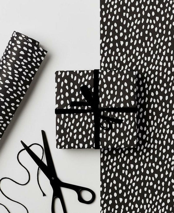 Kinshipped White Dash Gift Wrap