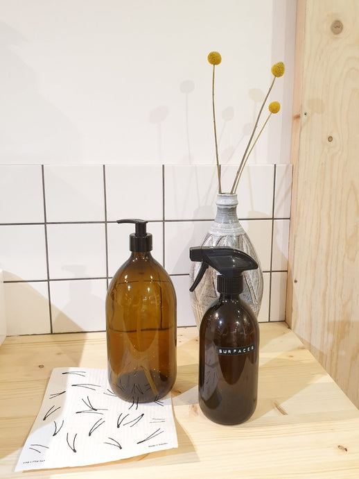 Amber Glass Reusable Bottle - 1000ml Pump Top